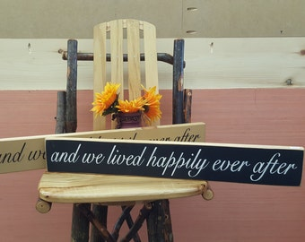 And We Lived Happily Ever After... Wedding Sign, Rustic Sign, Country Sign, Primitive Sign, Home Decor