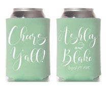Personalized Can Coolers, Wedding Coozie, Cheers Can Cooler, Custom Can Coolers, Beer Can Cooler, Drink Insulator, Drink Holder, Beer Sleeve