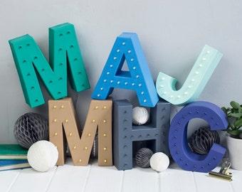 handmade initial letters, made to order, light up letter, letter lights, desk lamp, birthday gift