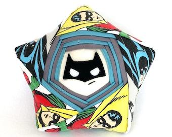 Batman Star Buddy - One of a Kind Unique Origami Star – Vintage DC Handmade Reclaimed Fabric Plush