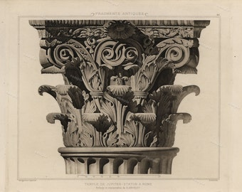 Antique Original Prints of Architectural Elements From Fragments D'Architecture- Temple De Jupiter Stator A Rome 905 D'Espouy,
