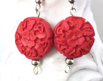 Red cinnabar earrings - Red dangle earrings