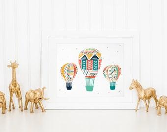 3 hot air balloons kids room wall art. nursery art. childrens room art print