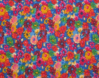 1 yard, Bright Floral Fabric, Multi-color Flowers on Blue