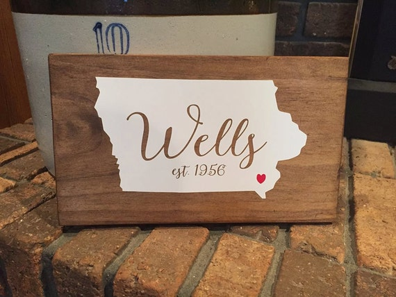 State Silhouette Personalized Last Name Home Decor Wood Rustic
