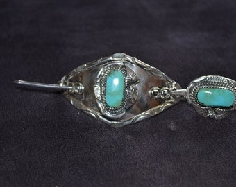 Handmade Sterling Silver and Turquoise Hair Pin Barrette