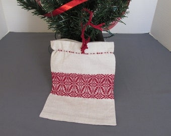 Small gift bag is handwoven in colonial overshot pattern