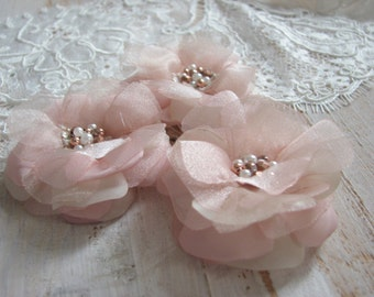 Blush hair flowers Rose gold hair flowers Blush wedding flowers Blush headpiece Champagne blush hair flower Rose gold hair pin Pink hair pin