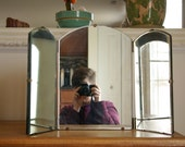 Antique Tri-fold Mirror with Thick Beveled Glass and Arched Top, Standing or Hanging Vanity