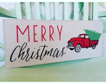 Merry Christmas Sign. Custom Vintage Truck Sign. Christmas Tree Decor. Old Pickup Sign. Hand Painted Wood Sign. Rustic Style Christmas Decor