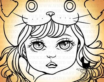 Digital stamp- Aurora 'meow meow' - 300 dpi 2 JPEG/PNG files - MAC0244