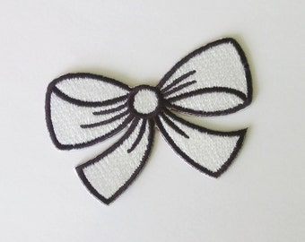 "Embroidered White/Black Bow Iron on Patch (2 3/8"" x 1 5/8"")"