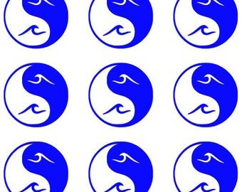 Yin Yang Wave Mini Decals- (Qty 9)