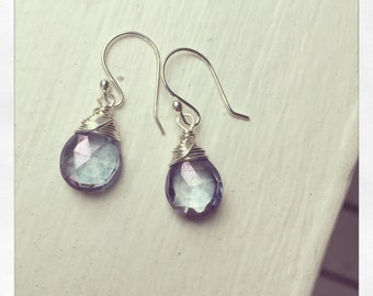 Amethyst Pearl Cluster Earrings