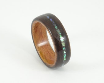 Wood Ring, Ebony & Padauk with Abalone Inlay, Mens Wood Ring, Womens Wood Ring, Wood Engagement Ring, Wood Wedding Band, Wooden Ring