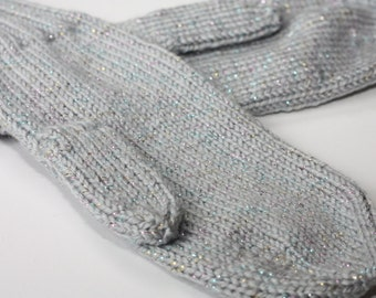 Light Gray SPARKLE Mittens for Adults - Gray Womens Knit Mittens - Pearlescent Winter Accessories - Gray Winter Glove - Classic Adult Mitten