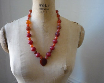 Antique Carnelian Faceted Bead Tribal Necklace