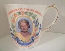 BRITISH ROYAL FAMILY. Queen Elizabeth Mug. The Queen Mother. Commemorative 90th Birthday English Bone china Mug. Royal Family Memorabelia