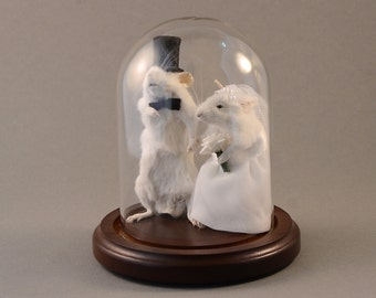 Taxidermy Wedding Mouse Couple Bride and Groom Mice Cake Topper Engagement Anniversary