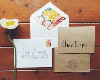 hand-lettered thank you card