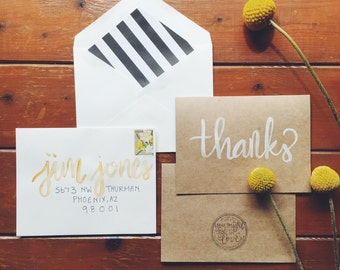 hand-lettered watercolor thanks card