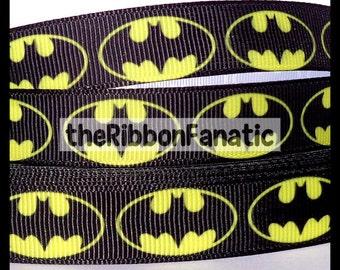 "5 yds 5/8"" Black and Yellow Batman Grosgrain Ribbon"