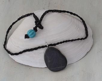 beach stone pendant, natural jewelry, boho pendant, boho accessories, beach stone accessories, boho jewelry, beach style