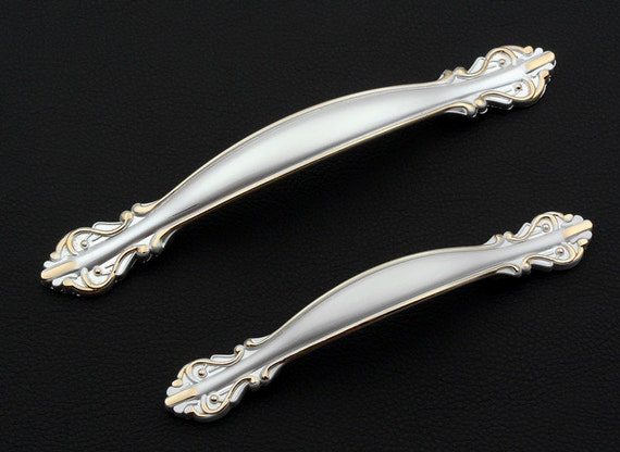 3.75 5 Unique Silver cabinet pulls / Kitchen