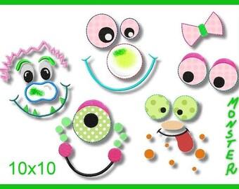 Machine embroidery applique 10 x 10 Monster faces faces