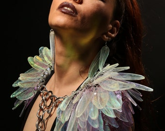 Illuminated Iridescent Feather Shoulder Wings LED Amazon Angel Valkyrie Fairy