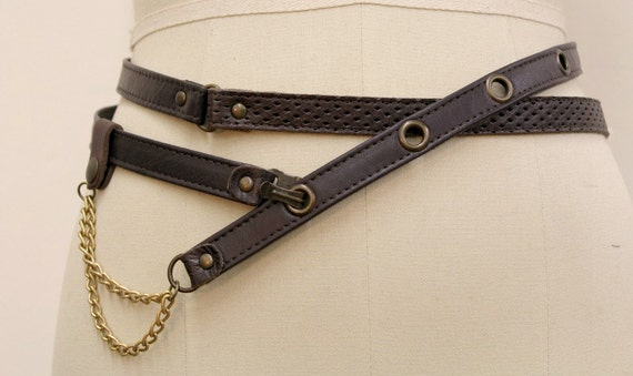 SALE - ROUTE 66 - thin double leather belt, tie at the waist - brown