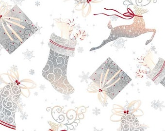 HALF YARD Quilting Cotton - Christmas Holiday Elegance White Reindeer - Christmas Fabric - White - Quilting Treasures
