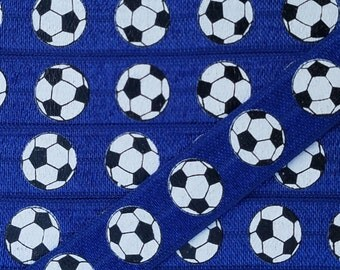 5/8 NAVY with Soccer Ball Fold Over Elastic
