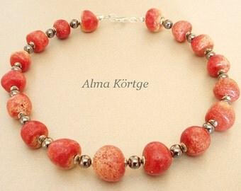 Gemstone chain necklace Apple coral Hematite