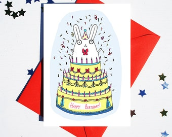 Happy Birthday Card, Funny, Cake Surprise, Cute Rabbit, Bunny Card