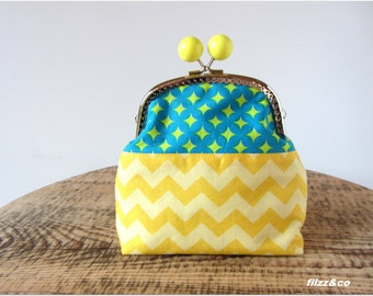 Cosmetic bag purse toiletry bag clutch pouch chevron yellow and green