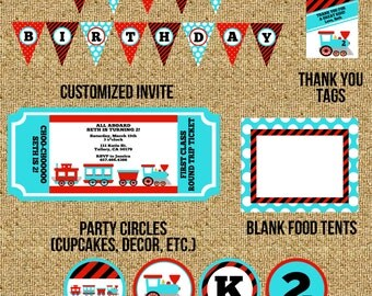DIY Train Birthday Printable Party Package
