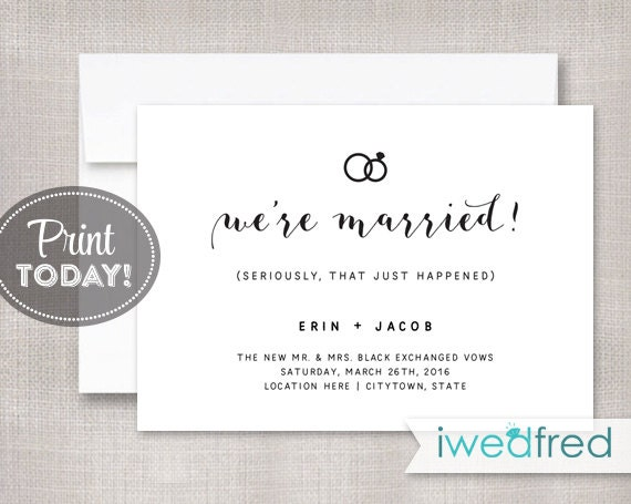 Elopement Wedding Invitations: Just Married Announcement Elopement Announcement Marriage
