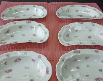 O&EG Royal Austria Bone or Side Dish Set of 6 Crescent Shaped Pink Rosebud Pattern From Early 1900's
