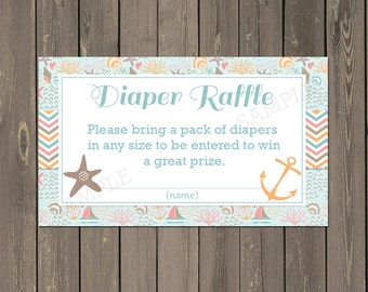 Ocean Diaper Raffle Ticket, Nautical Sailboat Baby Shower Diaper Raffle Card, Starfish, Anchor, Instant Download