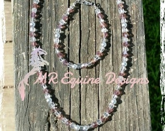CLEARANCE ITEM - Pink, Clear Beaded Necklace with Matching Bracelet