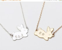 ON SALE Gold plated bunny rabbit initials  - 14k gold filled /sterling silver necklace - Personalized Jewelry