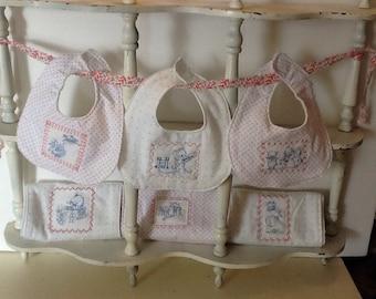 New baby girl bib and burp cloth set