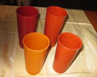 vtg Harvest Color Oranges 4 Tumblers 2 - 12 oz 2- 10 oz free ship