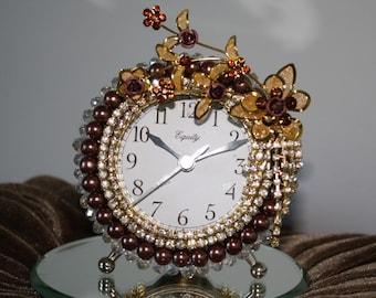 "Metallic Brown Pearl and Rhinestone Floral Alam Clock ""Burnished Rose Garden"""