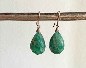 Oxidized Sterling Silver Rough Cut Emerald Briolette Drop Earrings