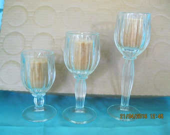 Vintage Set of 3 candle holders glass