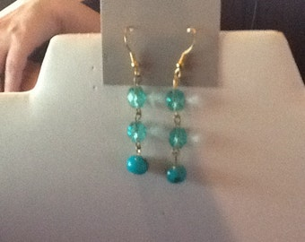 Earrings Blue hand painted beads