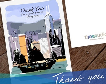 Hong Kong Thank you Greeting Card, Thank you Hong kong, 5x7 card blank inside with white envelope.
