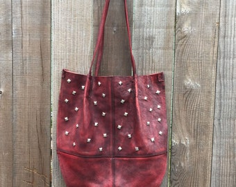 Leather Shoulder Bag with Metal Studs